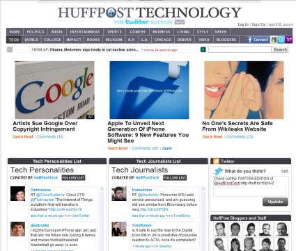Post image for Huffington Post's Twitter Edition: Curated real-time content?